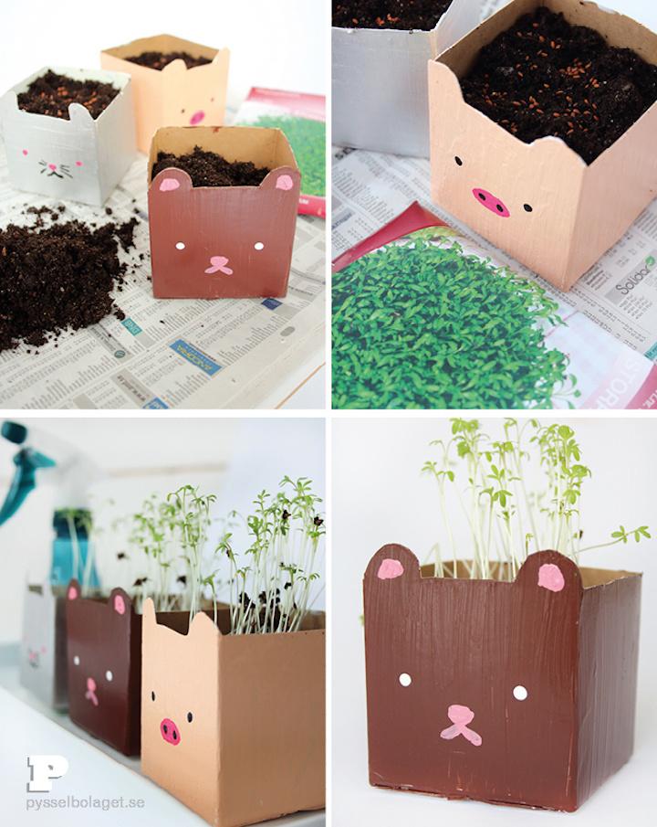 bonitas ideas de jardineras DIY hechas con cartón, como hacer una caja de carton paso a paso