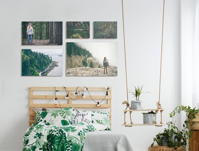 dormitorio decorado con motivos botánicos, paredes con fotografías profesionales plasmadas en lienzos, cama con cabecero de madera, habitación en estilo moderno