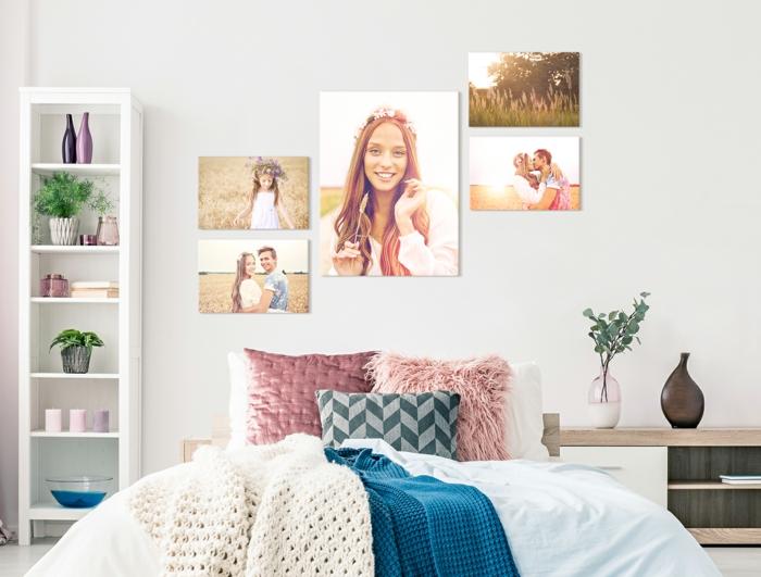 precioso dormitorio decorado en colores claros con tonos pastel, decoración en la pared con fotografías en lienzos, plantas verdes