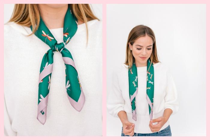 manera clásica de ponerse una bufanda, pañuelo de seda verde con hermoso dibujos