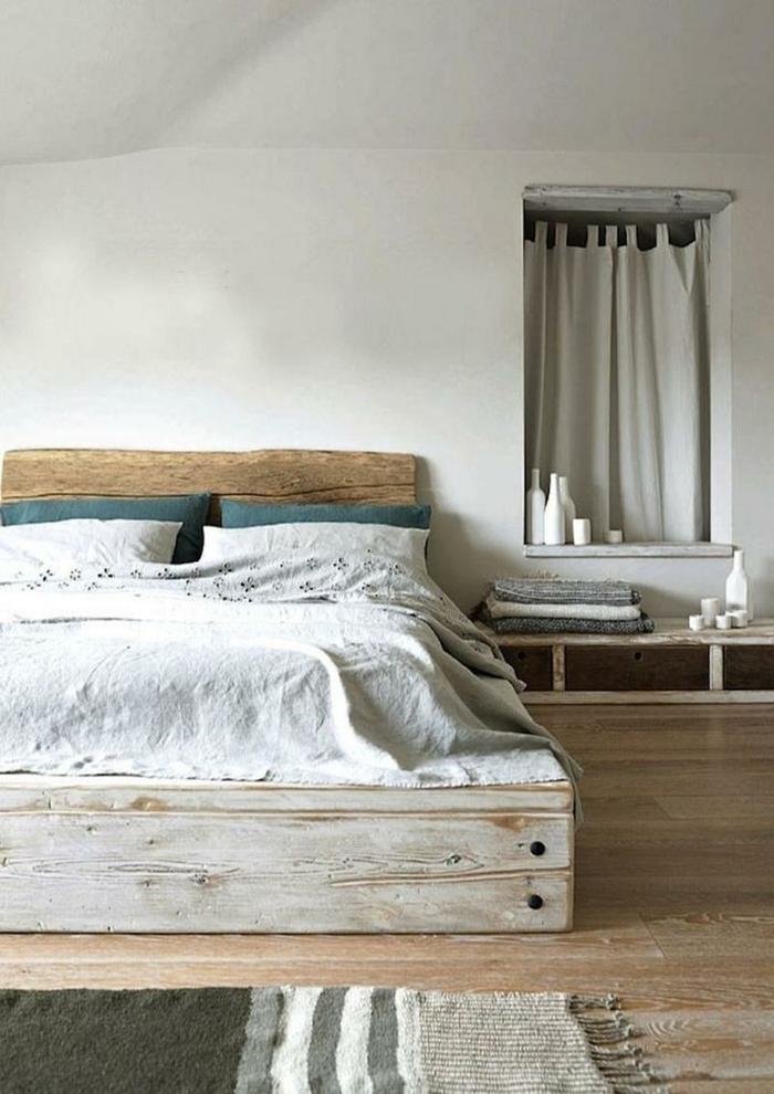 como hacer una cama con palets DIY paso a paso, precioso dormitorio en estilo vintage