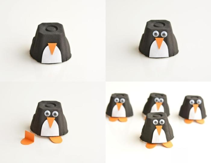 simpáticas ideas de manualidades con hueveras paso a paso, figuras pinguino hechas a mano