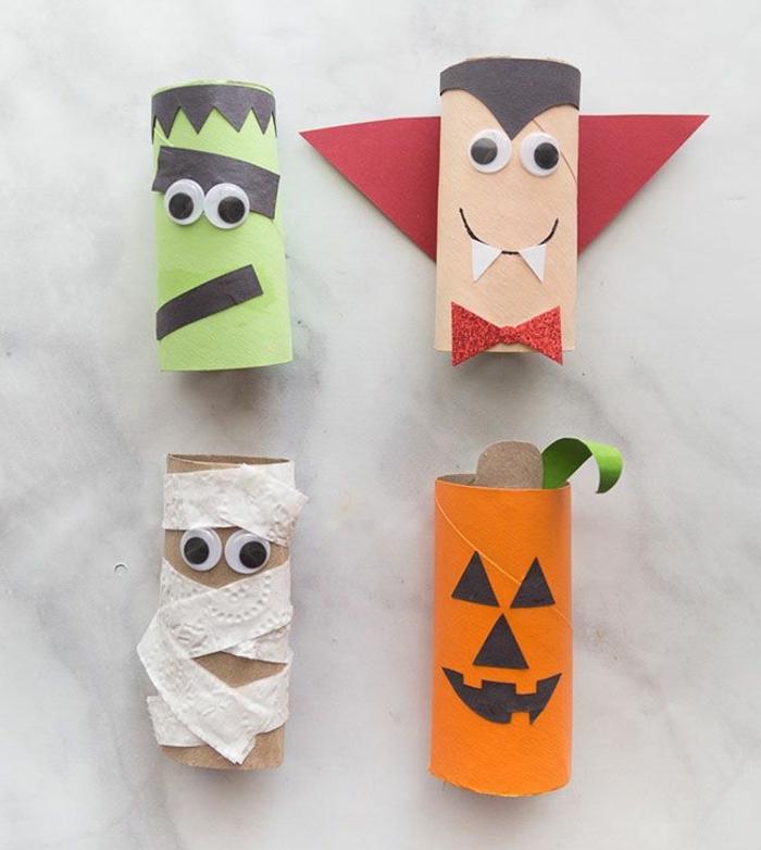 manualidades con tubos de carton para los pequeños, rollos de papel higiénico decorados