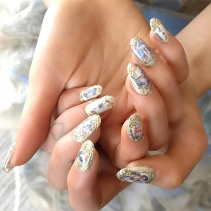diseños exclusivos de uñas decoradas con acrílicos, tipos de uñas falsas, dibujos en las uñas con motivos florales