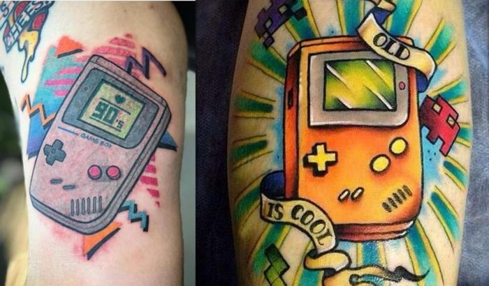 diseños coloridos de tatuajes para hombres en el brazo, ideas de tattoos de la escuela vieja