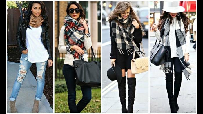 cuatro propuestas sobre como ponerse una bufanda en el otoño, bufandas modernas y acogedoras