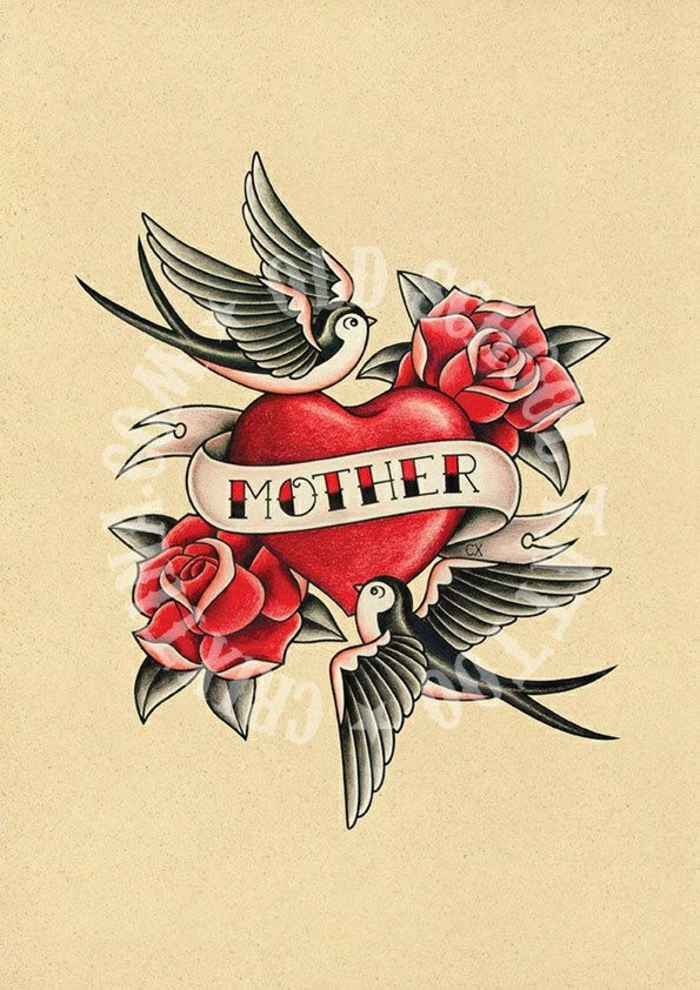 diseños de tatuajes americanos tradicionales, pequeño tatuaje con corazón, rosas y golondrinas