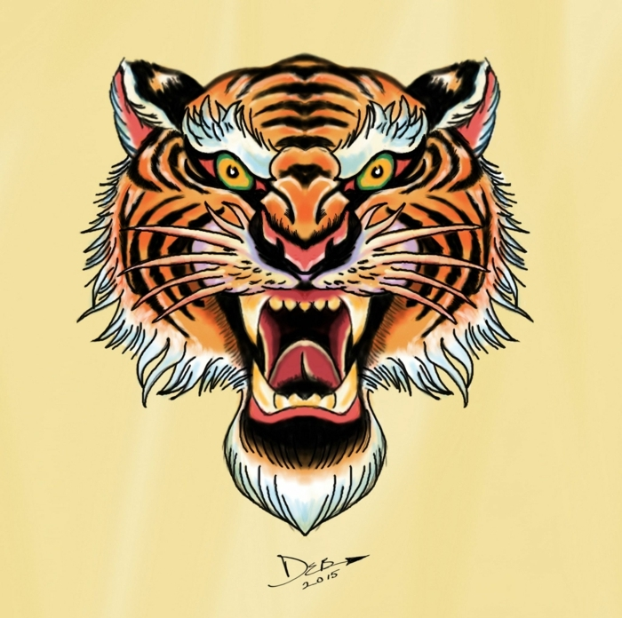 tattoo japones y chino, diseños típicos de tattoos old school, tatuaje con tigre en colores intensos