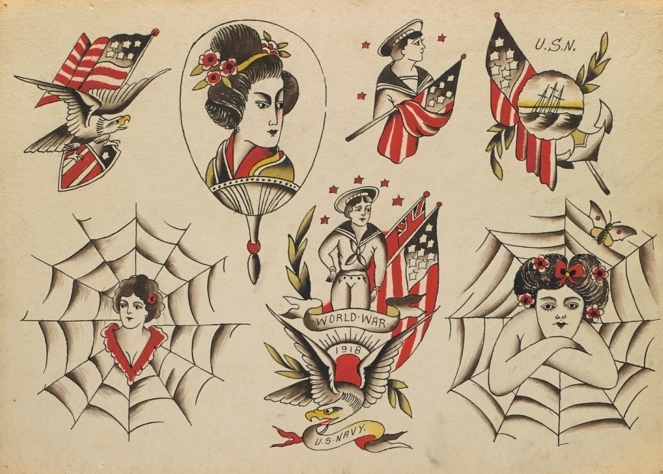tattoo japones inspirados en los tatuajes americanos tradicionales de los años 30, tattoos patrioticos