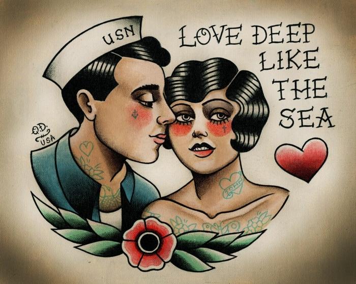 tatuajes con simbolos nostálgicos inspirados en los marineros, tatuajes faciles vintage ideas