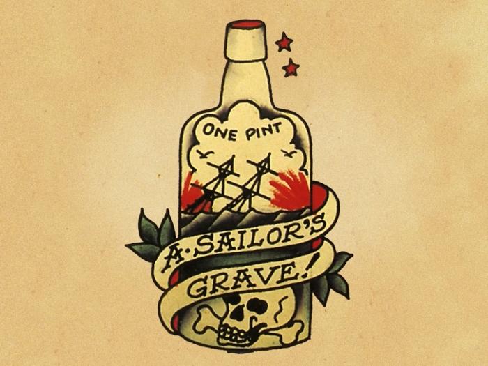 tatuajes calaveras diseños tradicionales americanos, botella de alcohol, diseños de tattoos old school