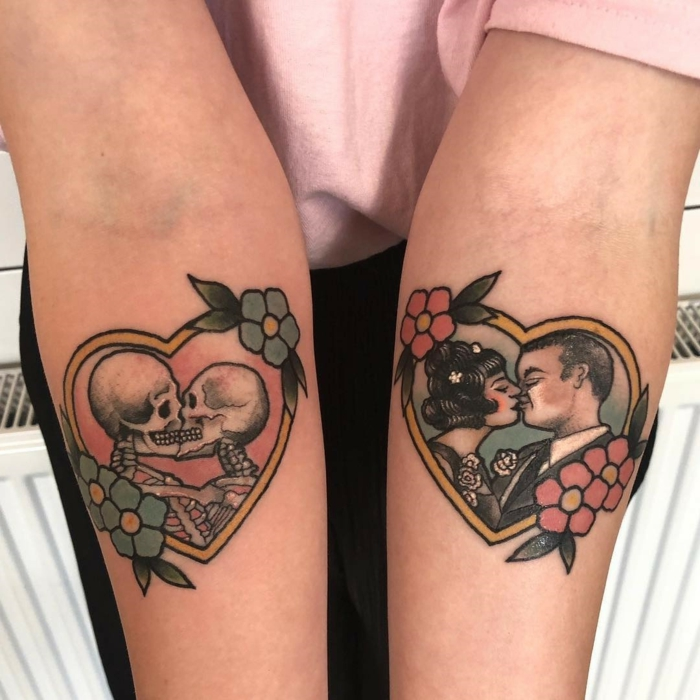 diseños de tatuajes calaveras en estilo vintage, tatuajes en colores intensos, ideas originales