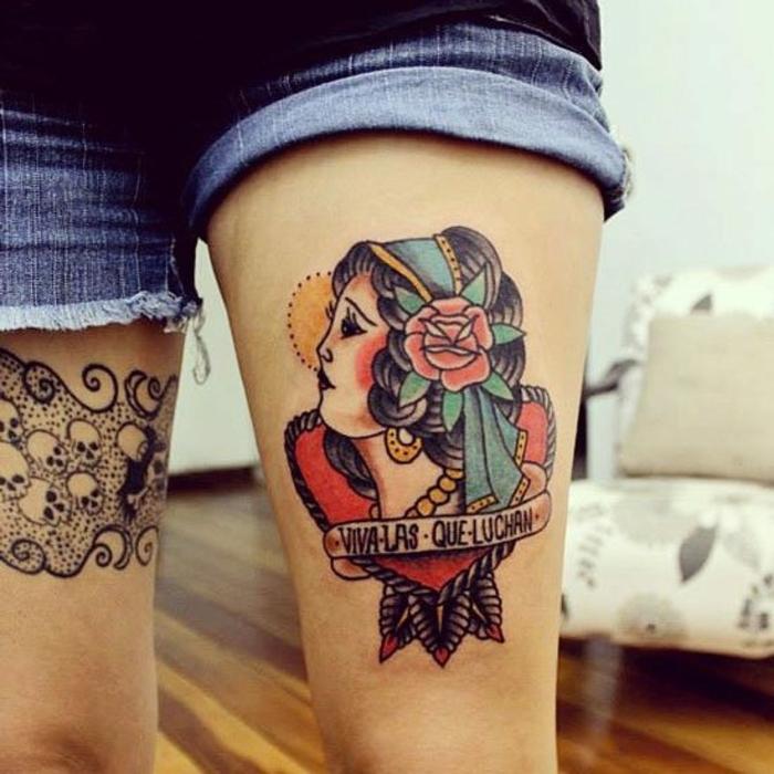 tatuajes calaveras, interesante propuesta de diseños de tatuaje, tattoo en las piernas con elementos old school