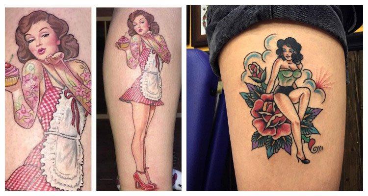 tatuajes tradicionales con chicas pin-up bonitas ideas, tatuajes vintage en la pierna y la cadera