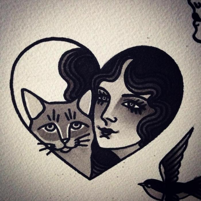 diseños de tatuajes tradicionales americanos, dibujos con corazones, golondirnas, chicas pin up