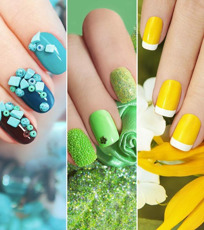 como hacer uñas acrilicas diseños para el verano, uñas en forma cuadrada pintadas en colores chillones y frescos