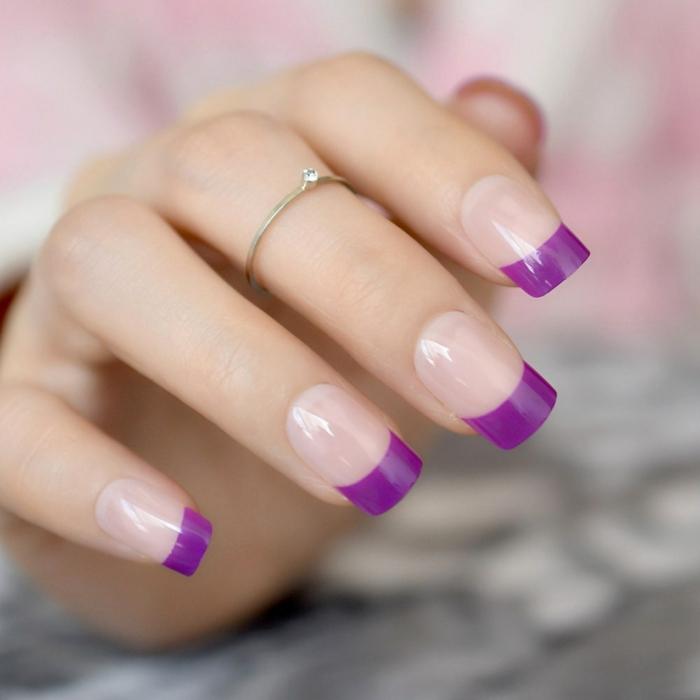 bonitos diseños de uñas en acrilico, uñas francesas largas en forma cuadrada, diseños originales y modernos