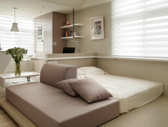 decoracion de pisos pequeños en beige, como separar el espacio en un estudio, decoración en beige