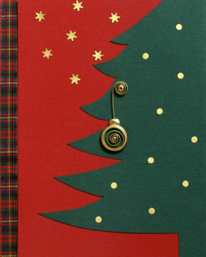 ideas de tarjetas navideñas originales, diseños de estilo, tarjeta de cartulina en rojo y verde con detalles en dorado