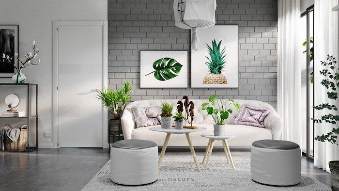 salones grises de diseño decorados en estilo escandinavo, sofá en color blanco roto, paredes en gris, plantas verdes