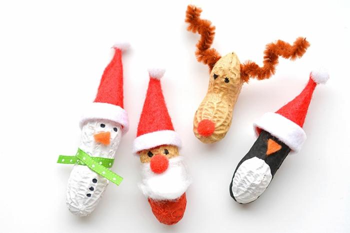 pequeños adornos hechos de materiales naturales, muñequitos de cáscaras de cacahuetes, adornos navideños caseros 2018