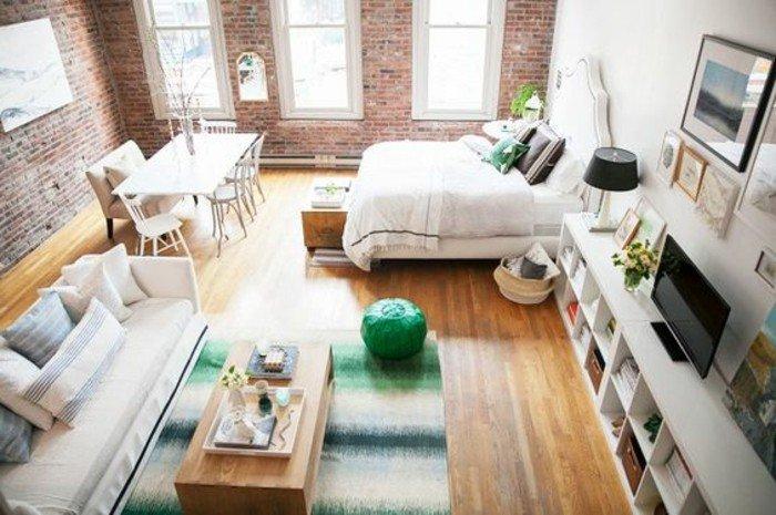 espacio de diseño abierto decorado en estilo industrial, decoracion pisos pequeños de diseño