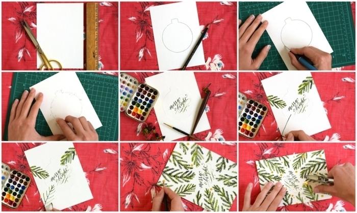 cómo hacer tarjetas navideñas originales paso a paso, tarjetas de cartulina bonitas y fáciles de hacer
