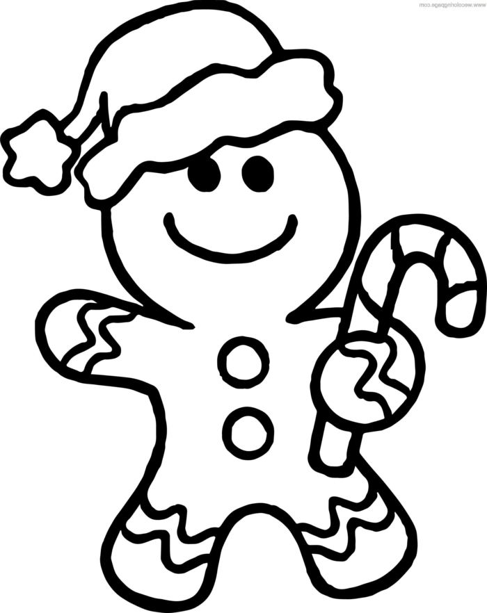 dibujos navideños para colorear imprimibles, dibujo de muñequito de jengibre, actividades navideñas infantiles