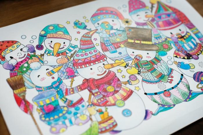 dibujos navideños para colorear con lapices de color, dibujos de muñecos de nieve coloridos