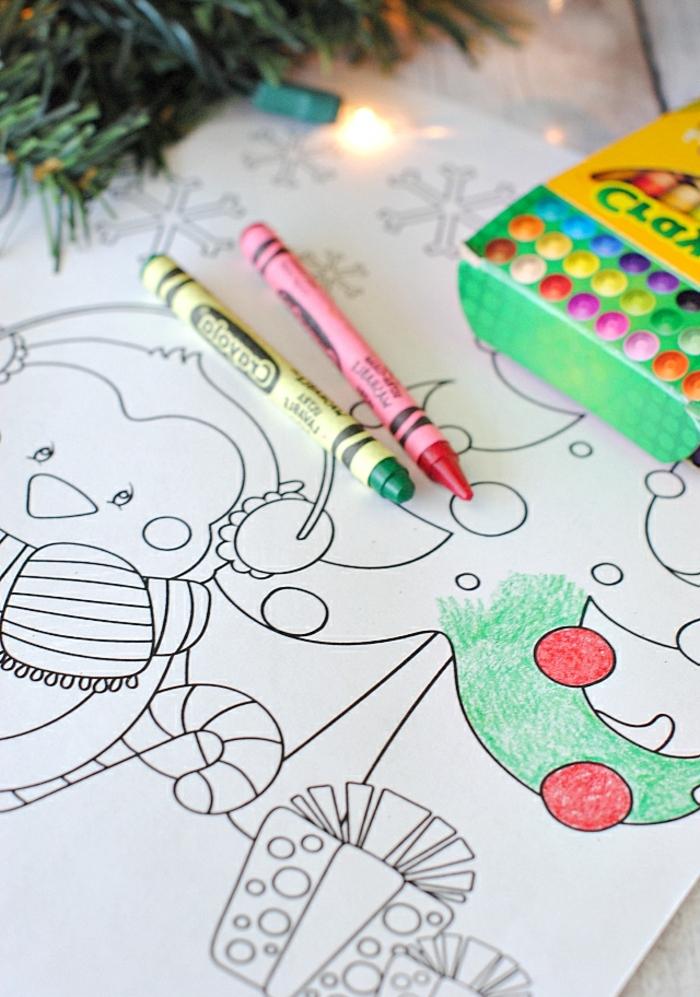 dibujos navideños para colorear con ceras, ideas para los niños, actividades que fomentan la creatividad