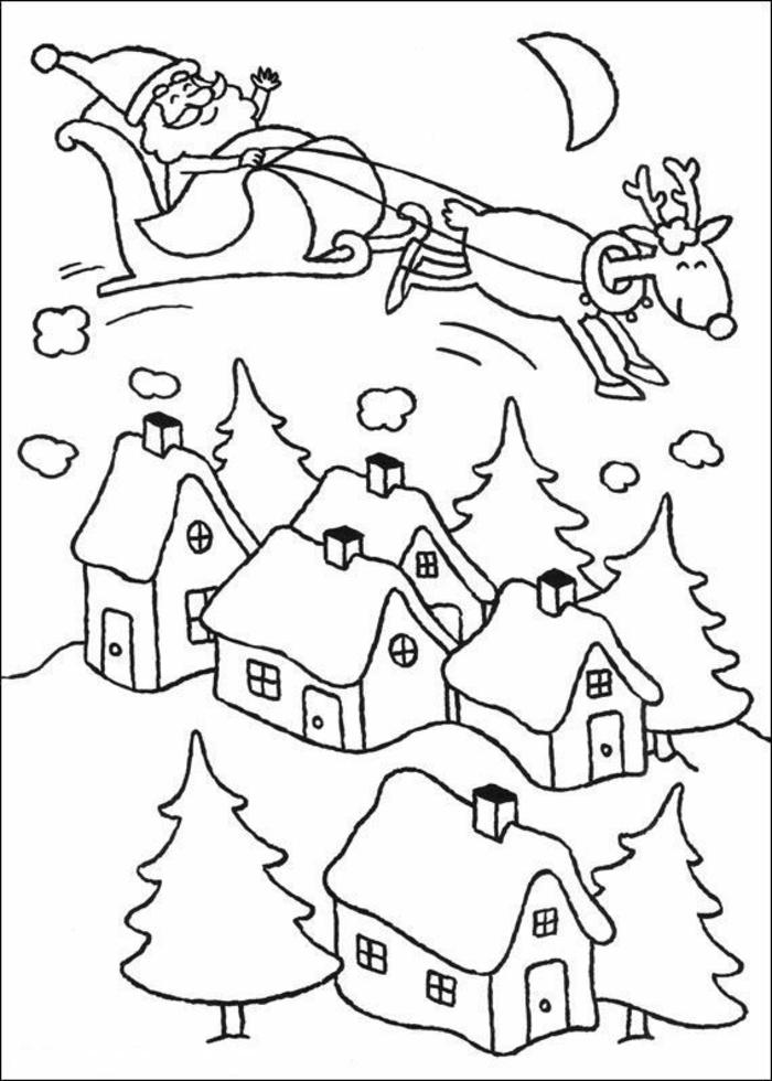 galería de imágines con dibujos navideños para colorear, Papa Noel con su trineo y renos volando