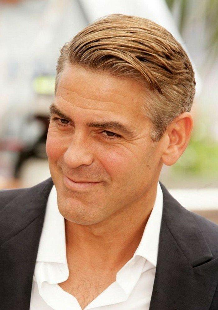 las mejores propuestas de peinados y cortes de pelo hombre modernos, George Cloony degradado longitud media