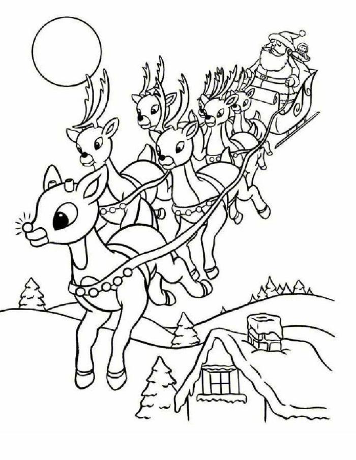 dibujos navideños para colorear idílicos, paisaje invernal con Papá Noel y sus renos, dibujos imprimibles