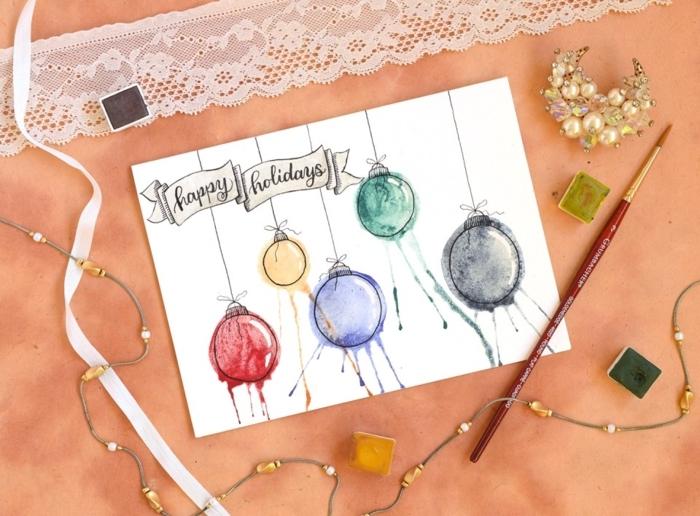 preciosas ideas de tarjetas navideñas originales, bonita tarjeta decorada con pinturas acrílicas