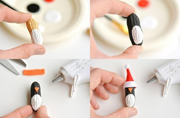 cómo hacer un pinguino de cáscara de cacahuete paso a paso, motivos navideños super monos paso a paso