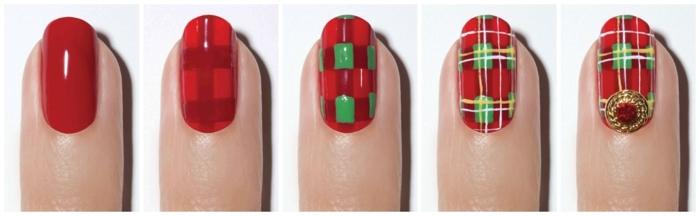 diseños de uñas navideñas fáciles paso a paso, uñas cuadradas con puntas ovaladas pintadas en rojo