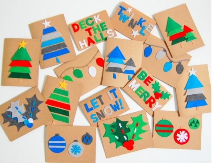 originales propuestas de postales navideñas hechas a mano, postales decoradas de fieltro en diferentes colores
