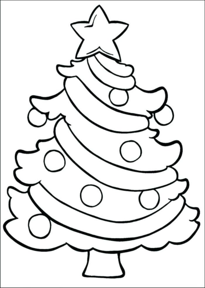 dibujo de árbol navideño super fácil, ideas de dibujos navideños para colorear, dibujos imprimibles