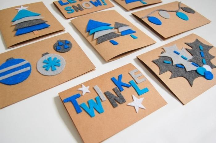 diferentes diseños de postales navideñas hechas a mano de fieltro, motivos navideños DIY para regalar
