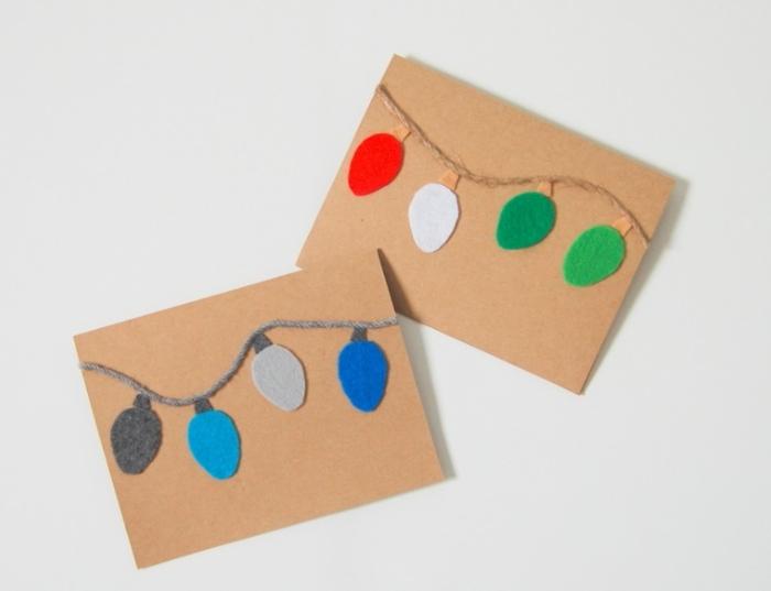 postales navideñas bonitos con preciosos motivos de fieltro, bolas de navidad de fieltro en diferentes colores