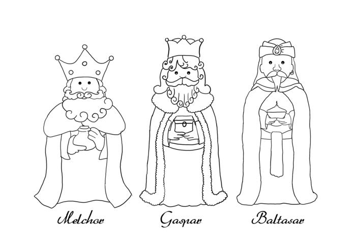 dibujos de los reyes magos originales, imágines con dibujos para pintar en colores, imágines descargables