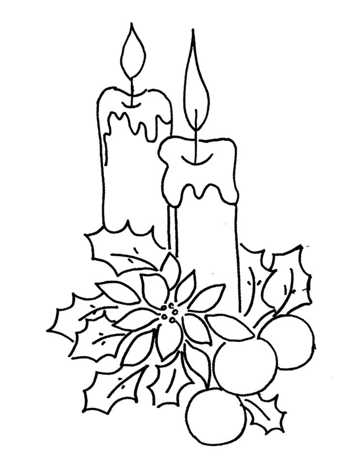 velas navideñas con acebo, dibujos de navidad faciles para descargar, actividades para los niños