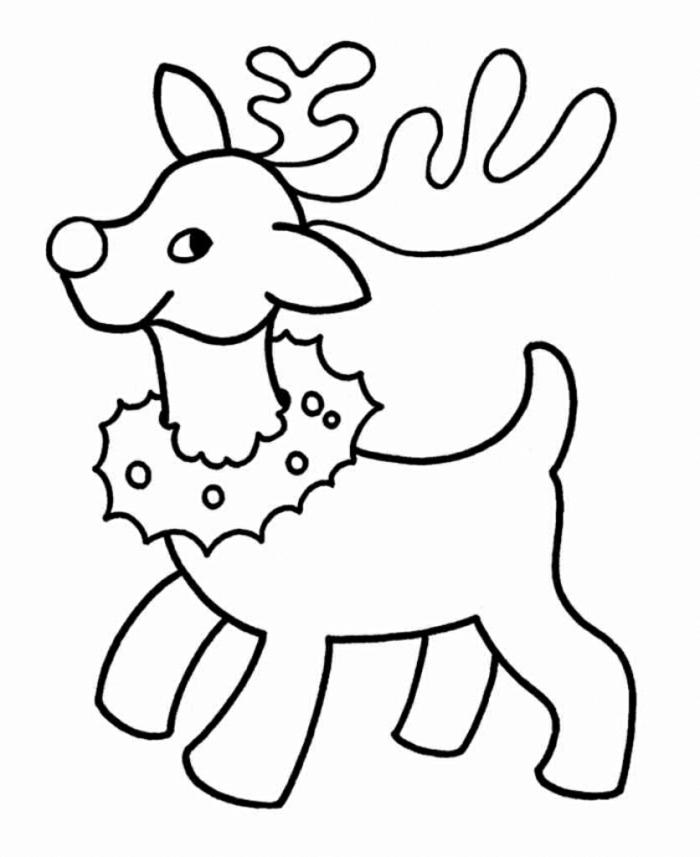 dibujos navideños infantiles para niños muy pequeño, dibujo de reno con corona de navidad