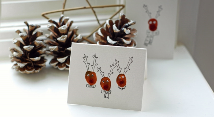 postales de navidad originales DIY para pequeños y adultos, tarjetas con huellas dactilares