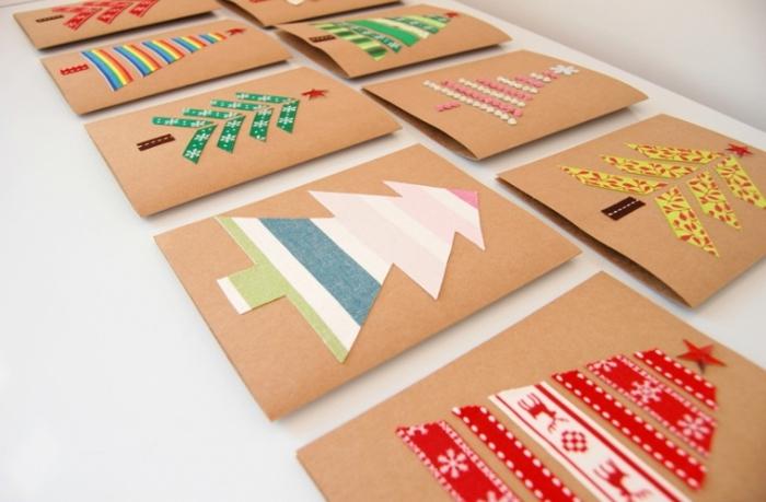 ideas de diseños de tarjetas DIY para regalar, postales de navidad originales con árboles de navidad