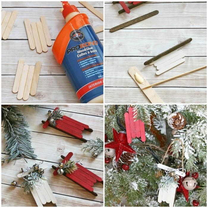 cono hacer unos trineos decorativos para adornar el árbol navideño, adornos de navidad caseros paso a paso