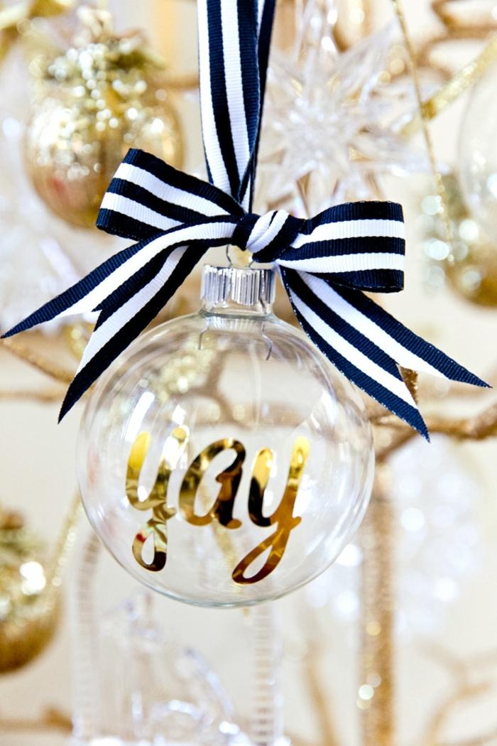 detalles para regalar en Navidad, regalos para amigo invisible originales, adorno navideño, bola de Navidad con letras en dorado