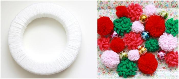 como adornar una corona con pompones coloridos, manualidades faciles y rapidas para pequeños y adultos