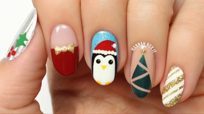 los mejores diseños de uñas navideñas, modelos de uñas super originales para las fiestas navideñas