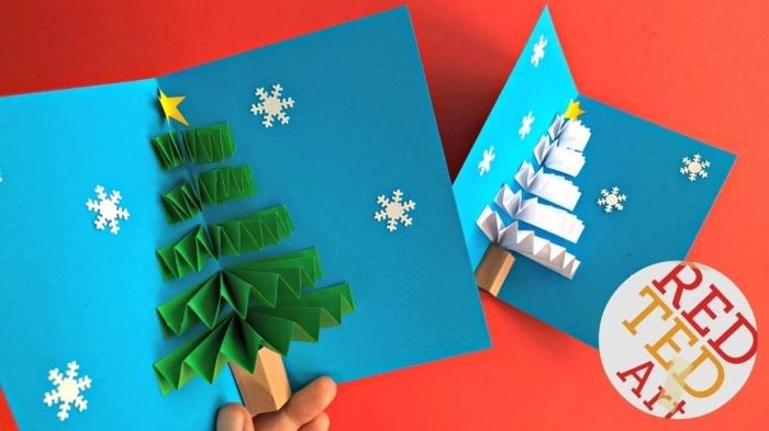 postales de navidad originales tridimensionales con sorpresa dentro, postales navideños con árboles de Navidad